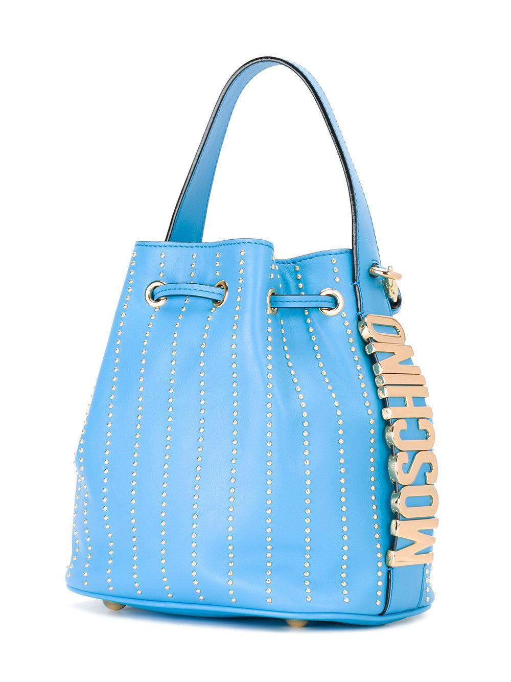 Moschino Leather Bucket Tote in Blue