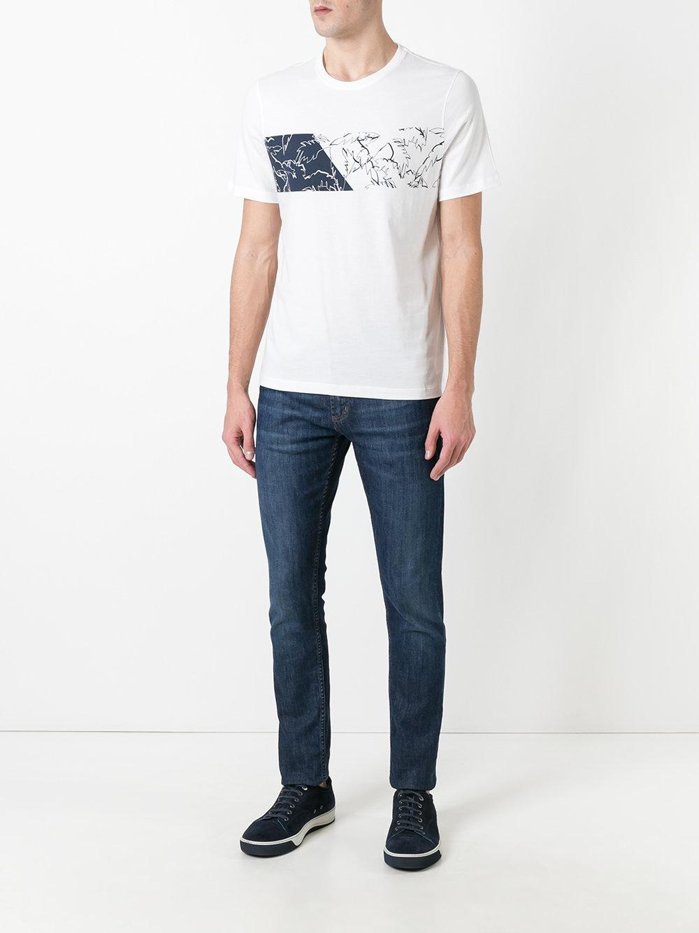 Lyst michael michael kors leaf print t shirt in white for Michael kors mens shirts sale