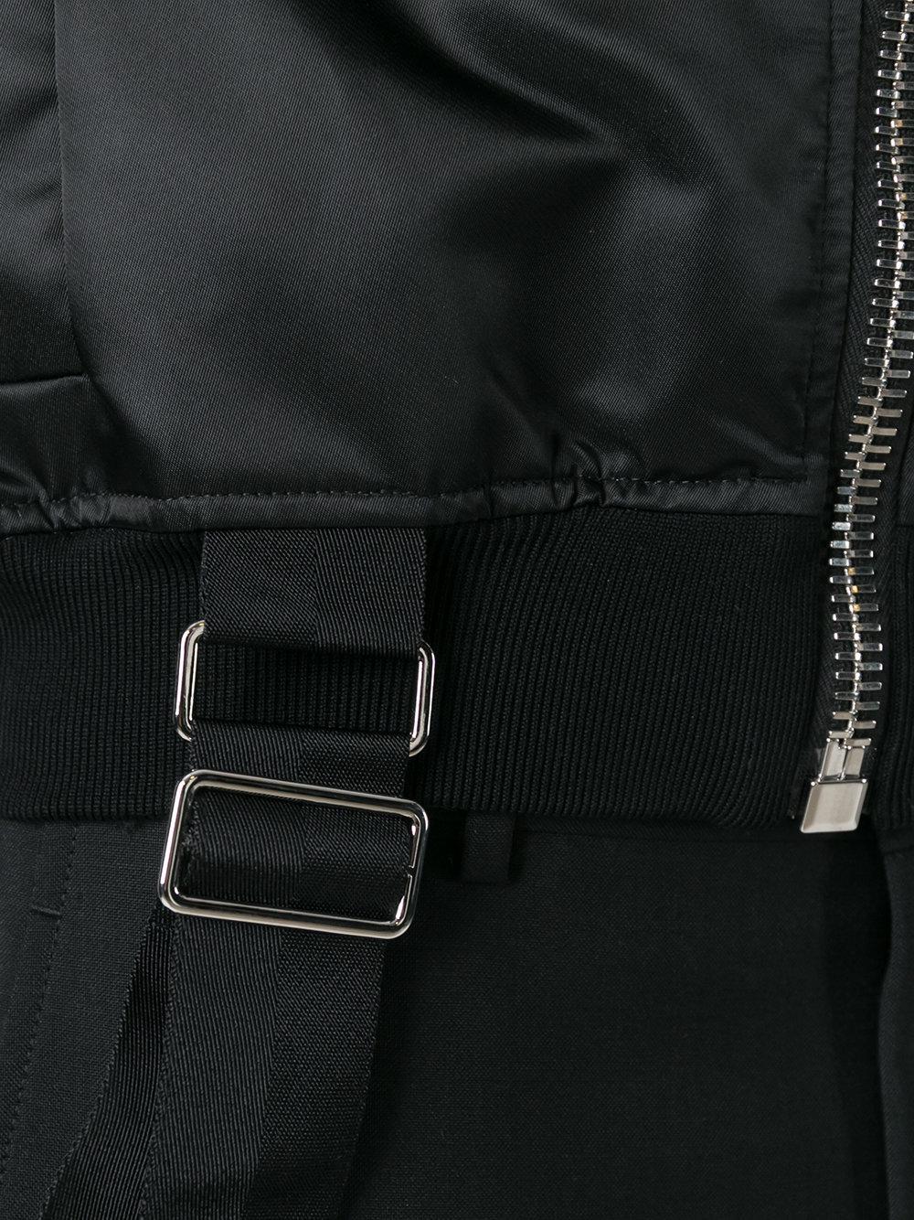 Les Hommes Cotton Strap Detail Bomber Jacket in Black for Men