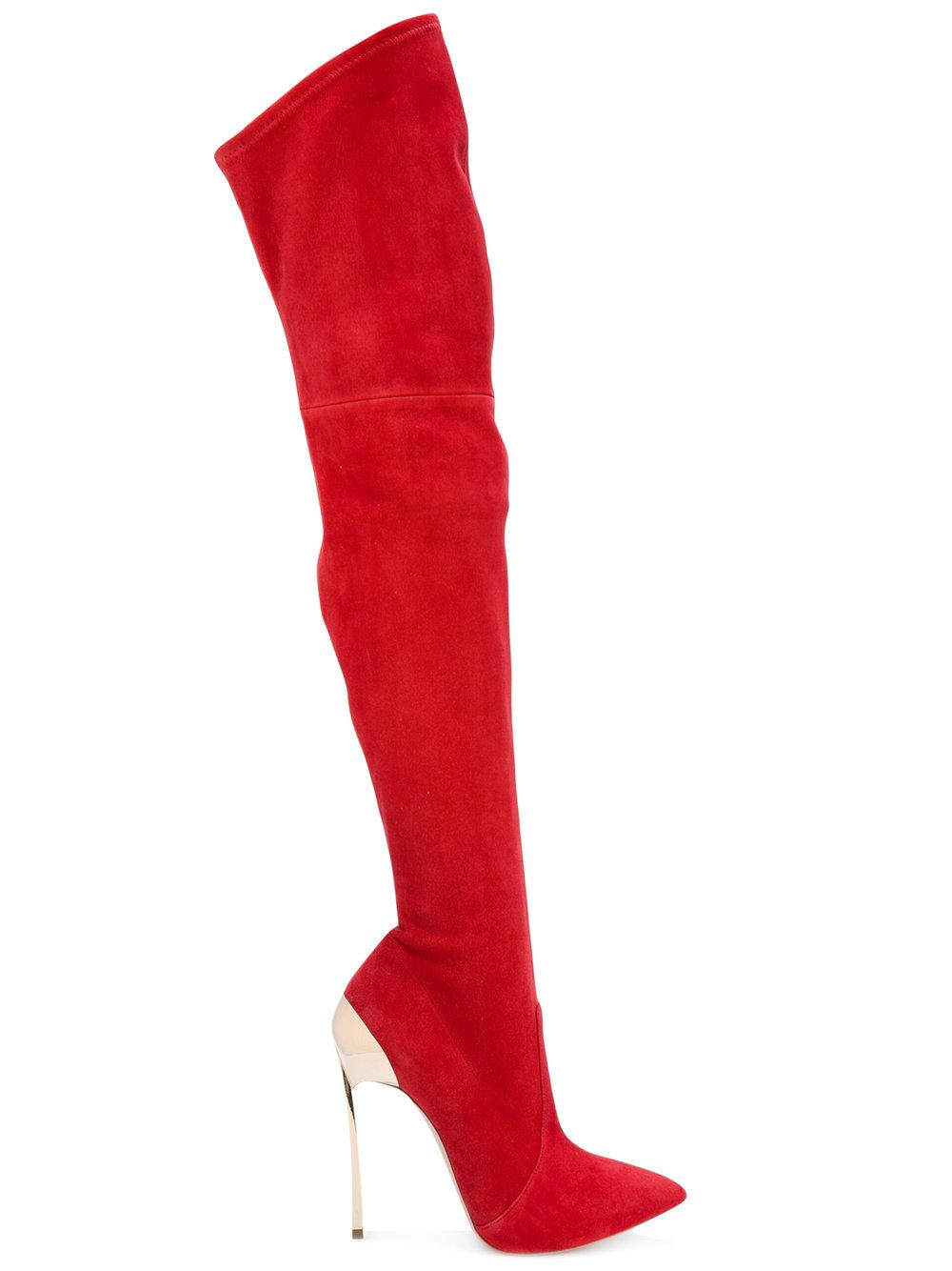 Casadei Suede Over-the-knee Boots in Red