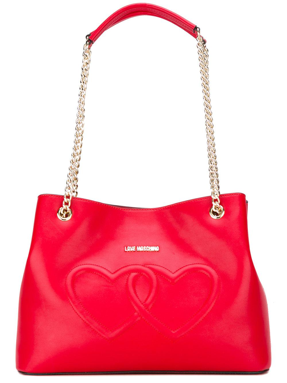 love moschino heart shoulder bag in red lyst. Black Bedroom Furniture Sets. Home Design Ideas