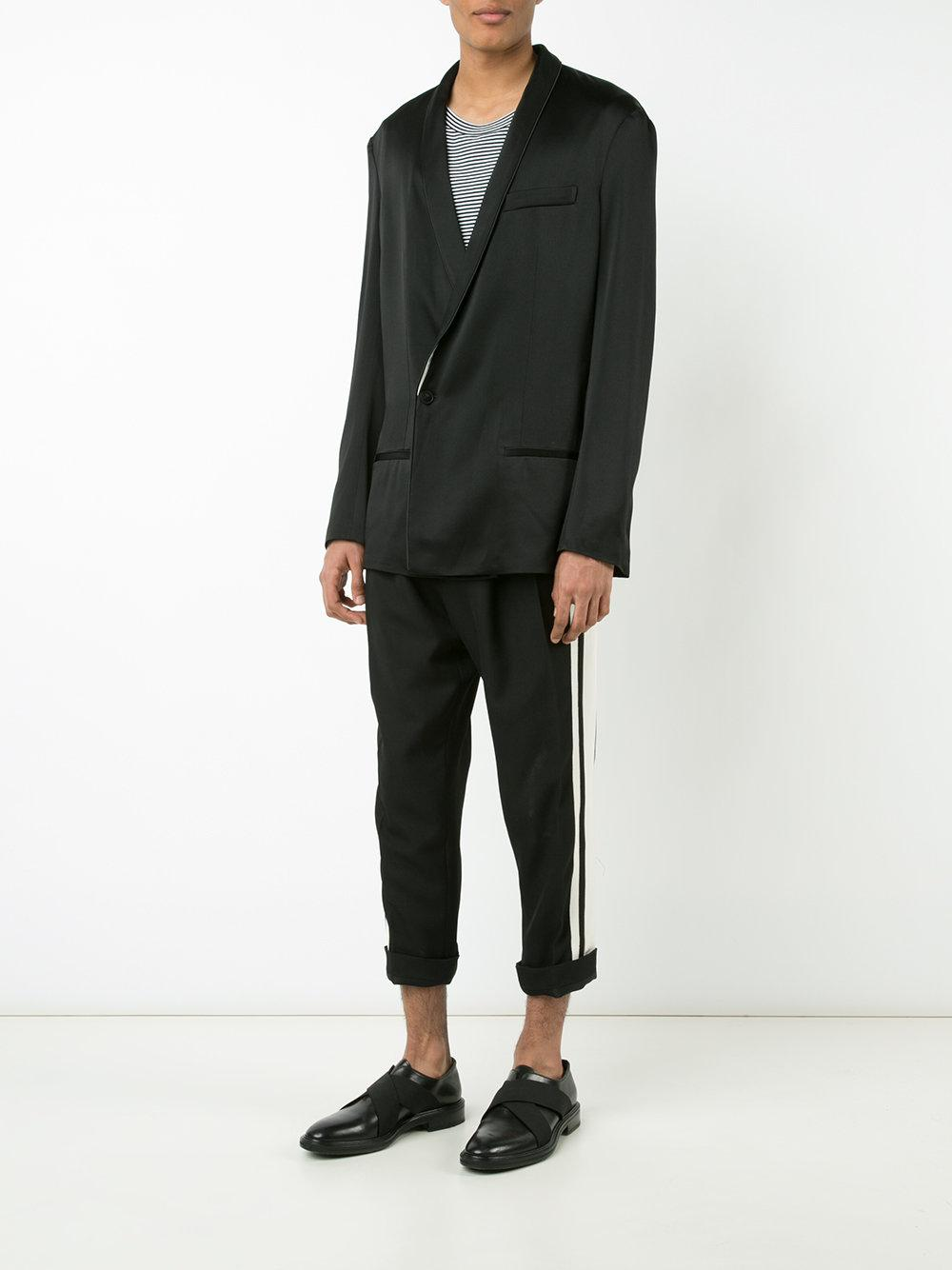 Haider Ackermann Drop-crotch Pleated Cropped Trousers in Black for Men