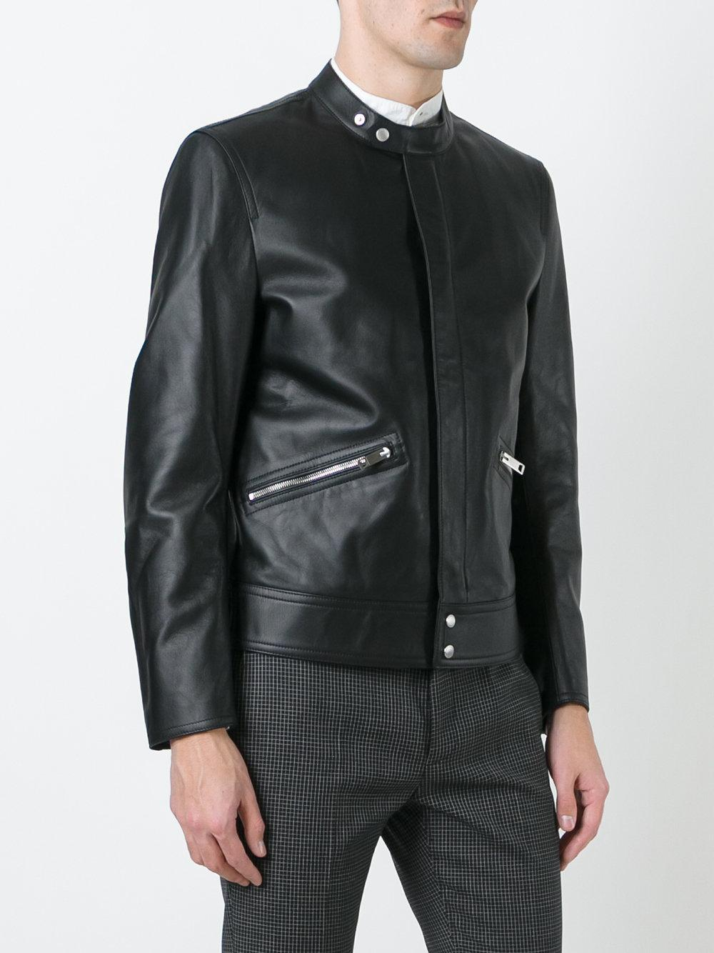 Burberry Leather Zipped Pocket Jacket in Black for Men