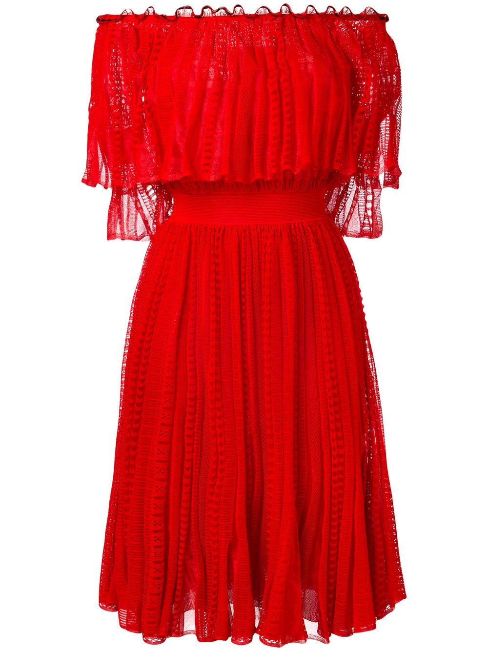 Alexander Mcqueen Off Shoulder Lace Dress In Red Lyst