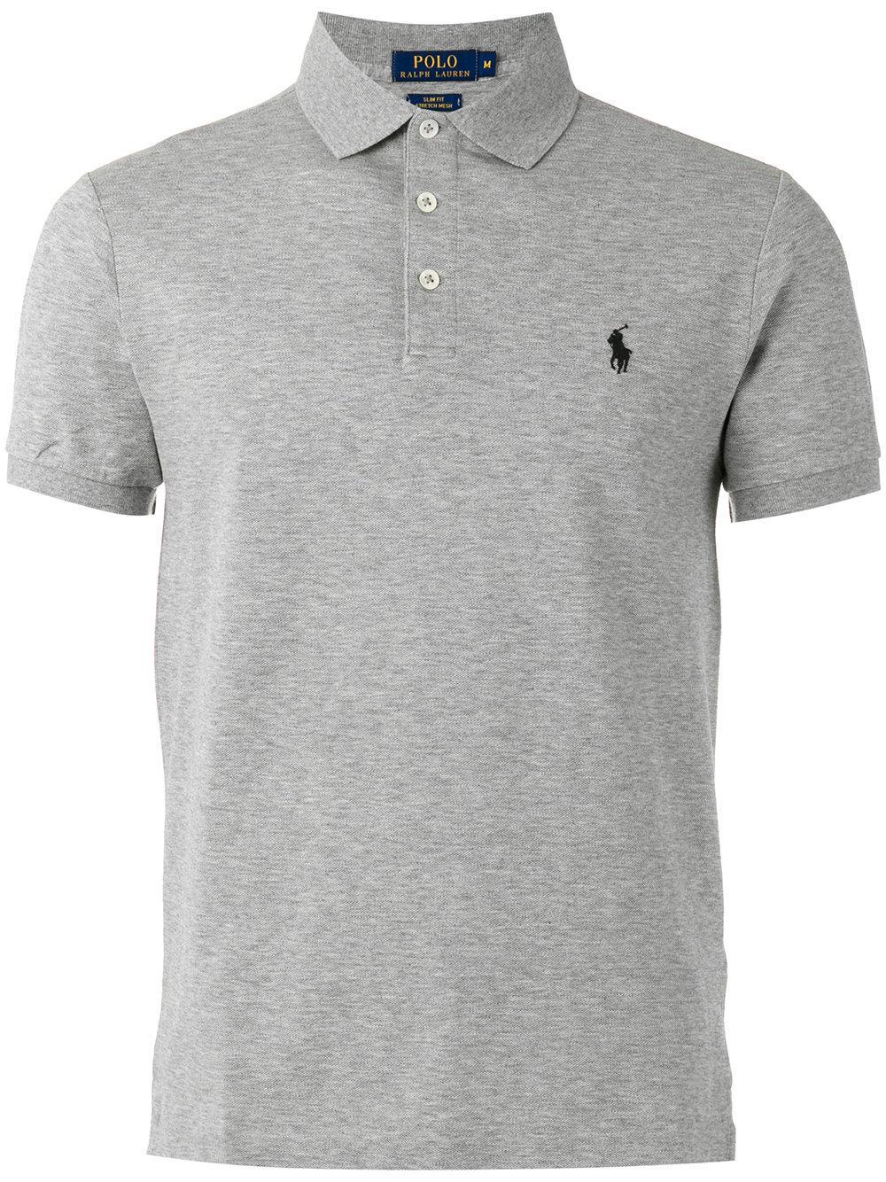 Polo ralph lauren embroidered logo polo shirt in gray for men lyst for Ralph lauren logo shirt