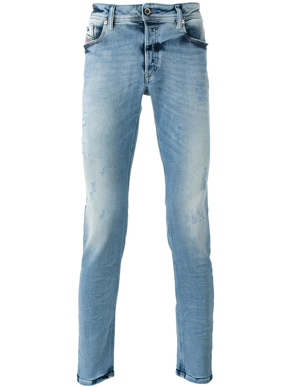 diesel shredded trim jeans men cotton polyester spandex elastane 29 32 in blue for men. Black Bedroom Furniture Sets. Home Design Ideas