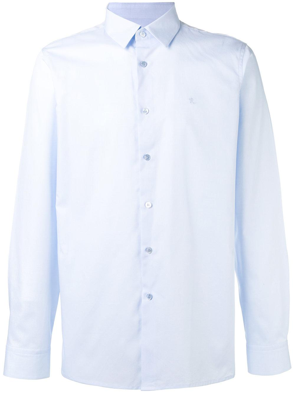 Raf simons button up logo shirt in blue for men lyst for Shirt tales brunswick ga