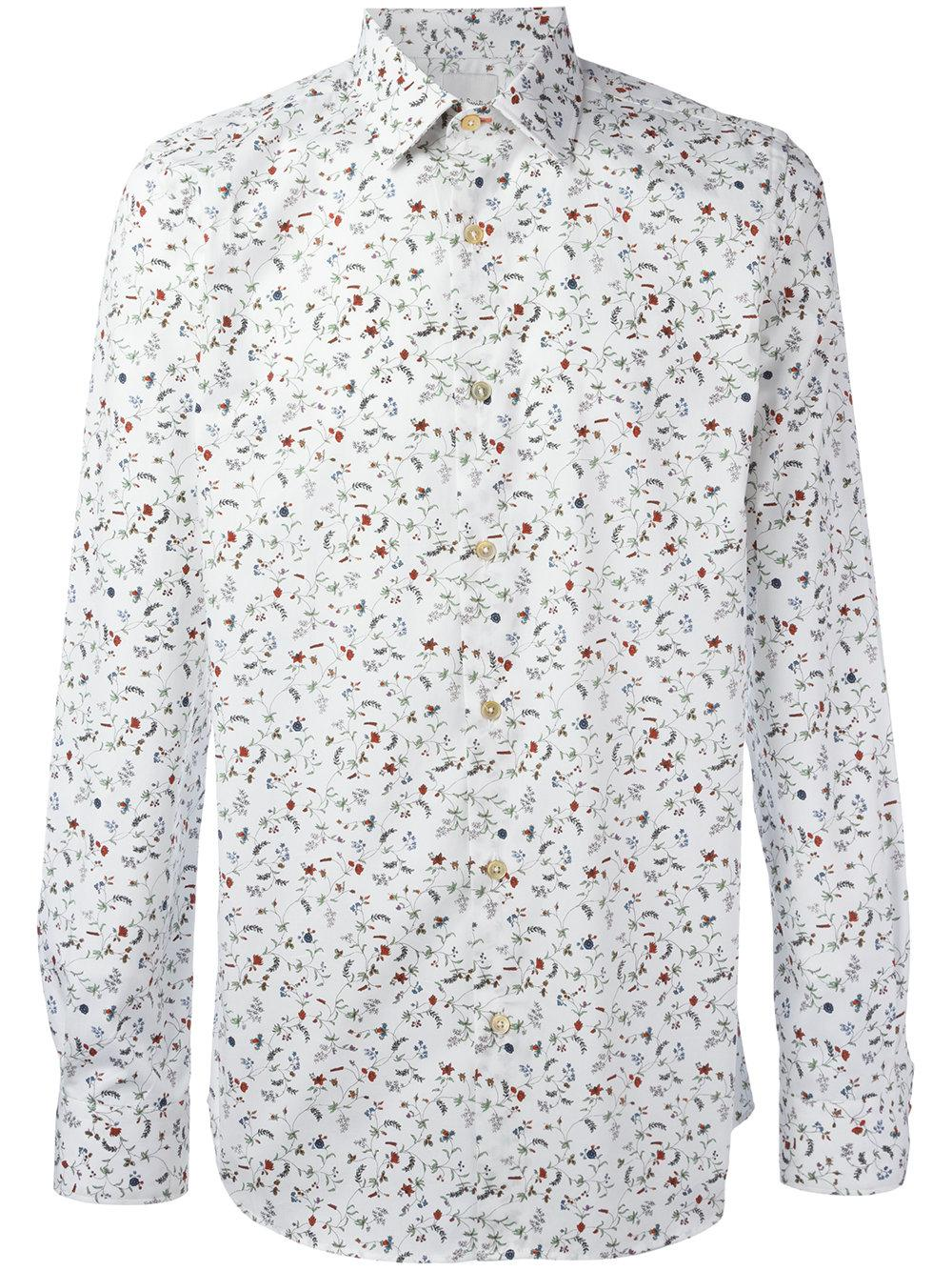 Paul smith floral print shirt in white for men lyst for Mens white floral shirt