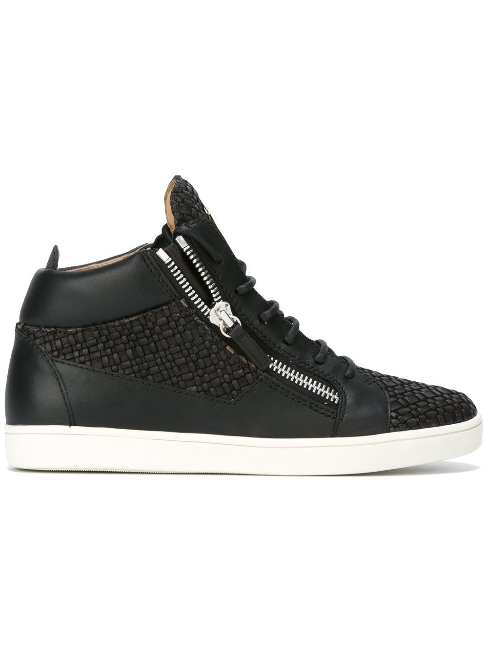 giuseppe zanotti clay mid top sneakers in black for lyst