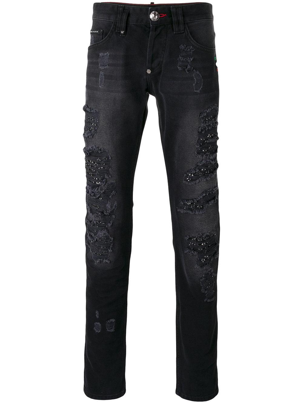 philipp plein crystal straight leg jeans in black for men lyst. Black Bedroom Furniture Sets. Home Design Ideas