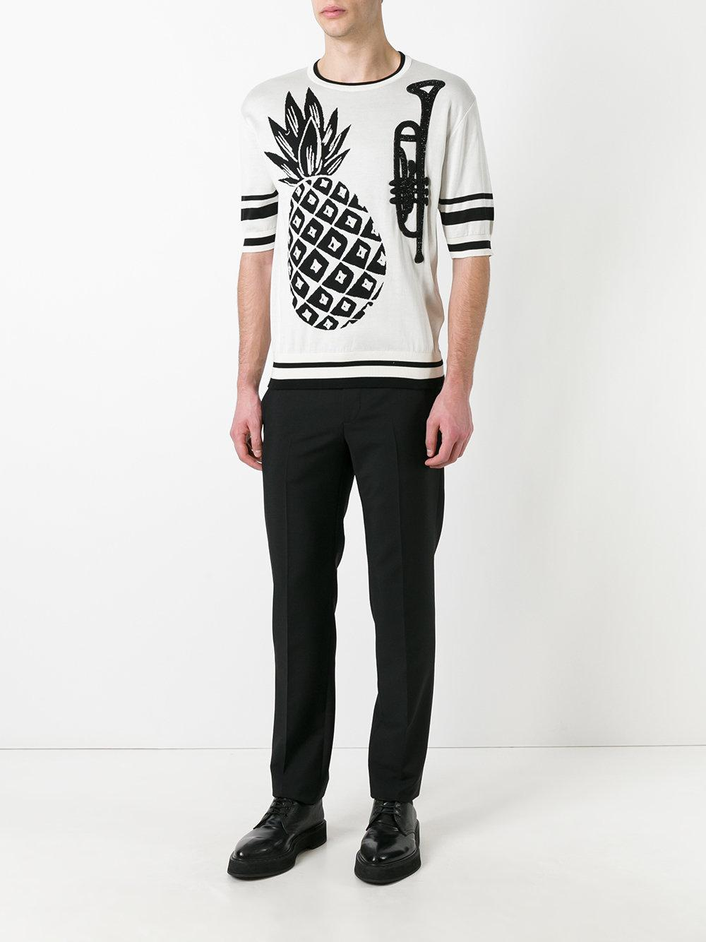 Dolce & Gabbana Silk Pineapple Intarsia Knit Top in White for Men