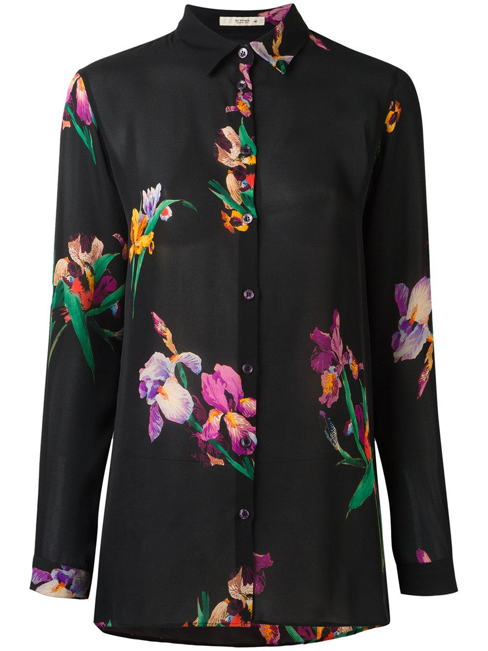 Etro Floral Print Shirt Women Silk 46 In Black Lyst