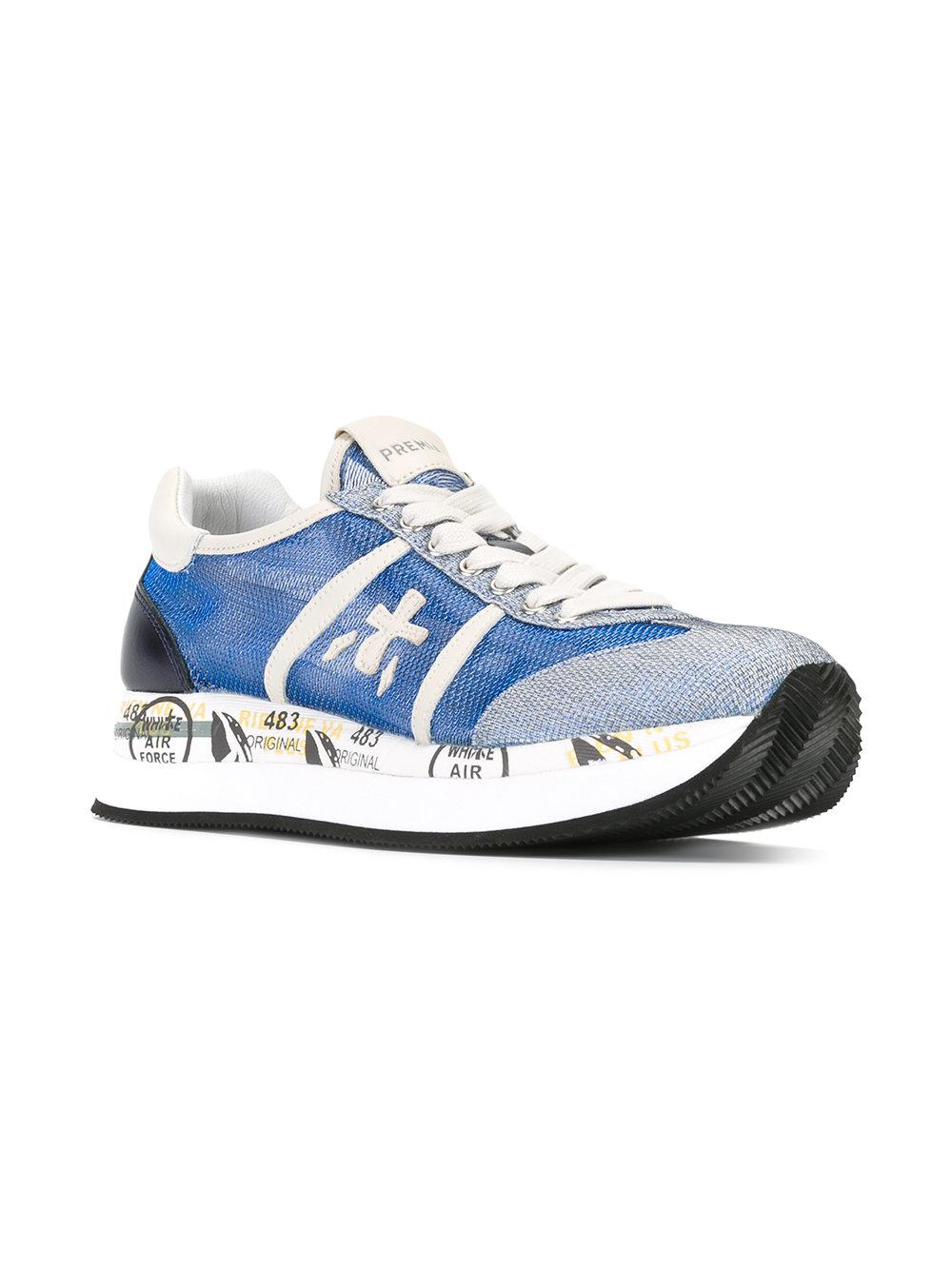 Premiata Leather Conny Sneakers in Blue
