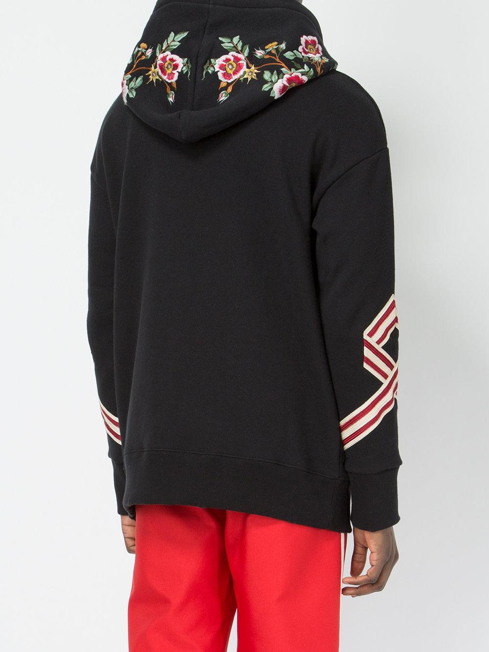 Gucci Tiger Embroidered Hooded Sweatshirt In Black For Men