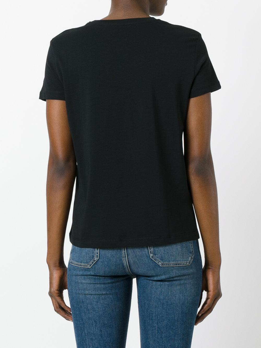 Red valentino bird print t shirt in black lyst for Red valentino t shirt