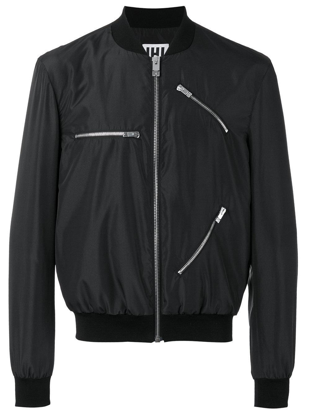 Les Hommes Zip Detail Bomber Jacket In Black For Men Lyst