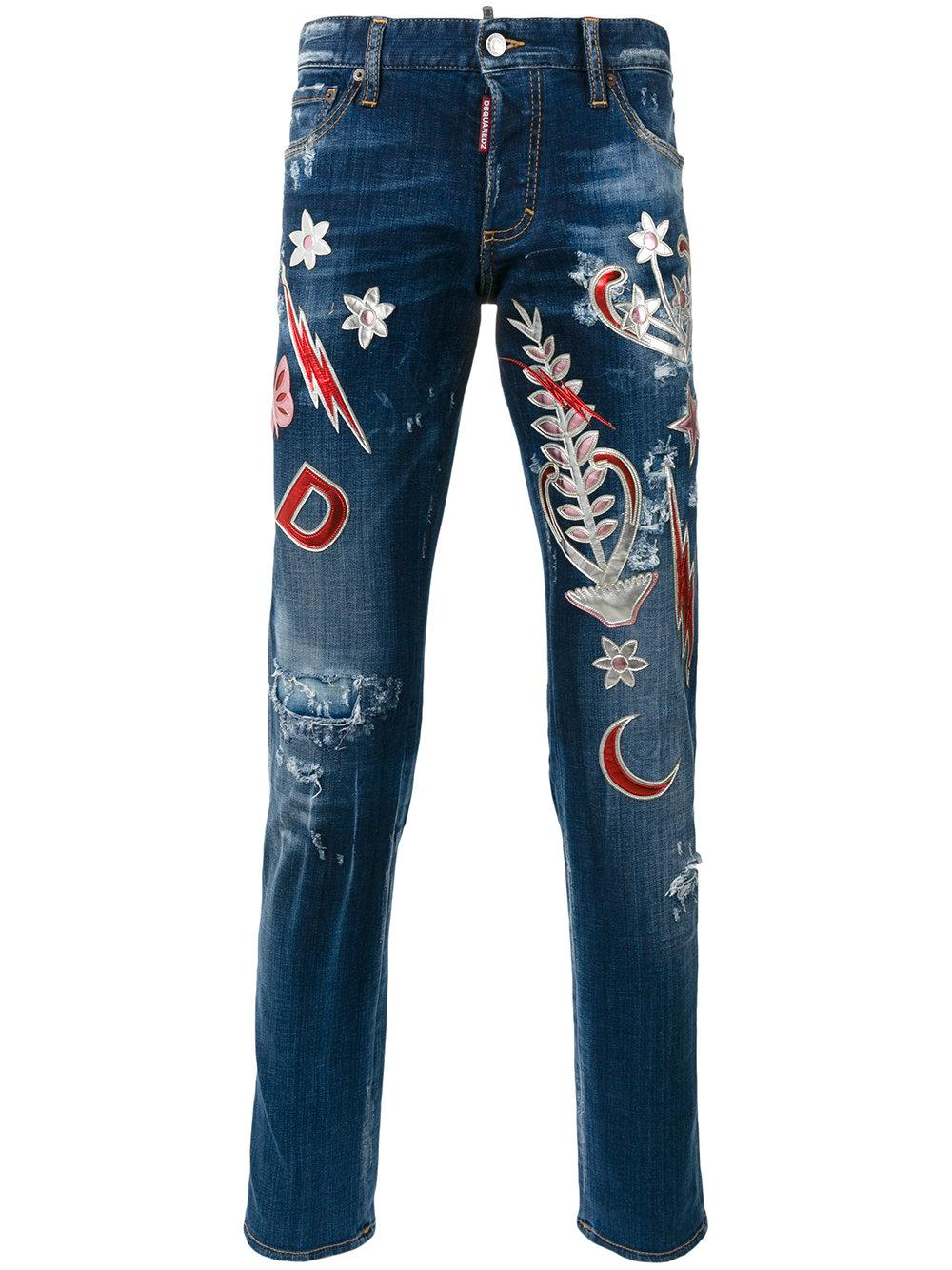 Lyst Dsquared 178 Metallic Embroidered Jeans In Blue For Men