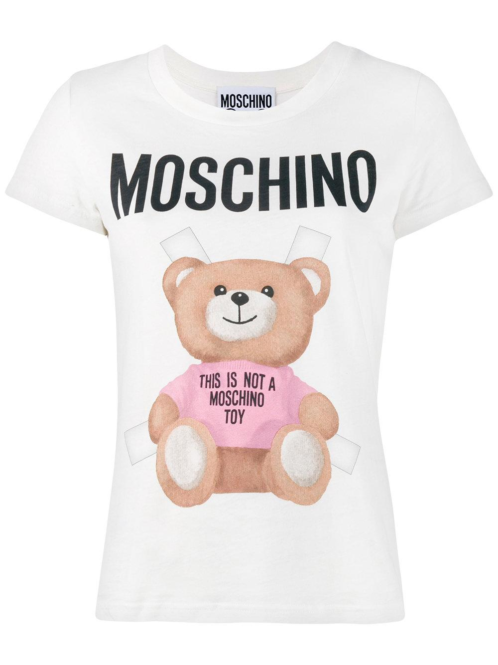 Moschino Teddy Logo T-shirt in White | Lyst