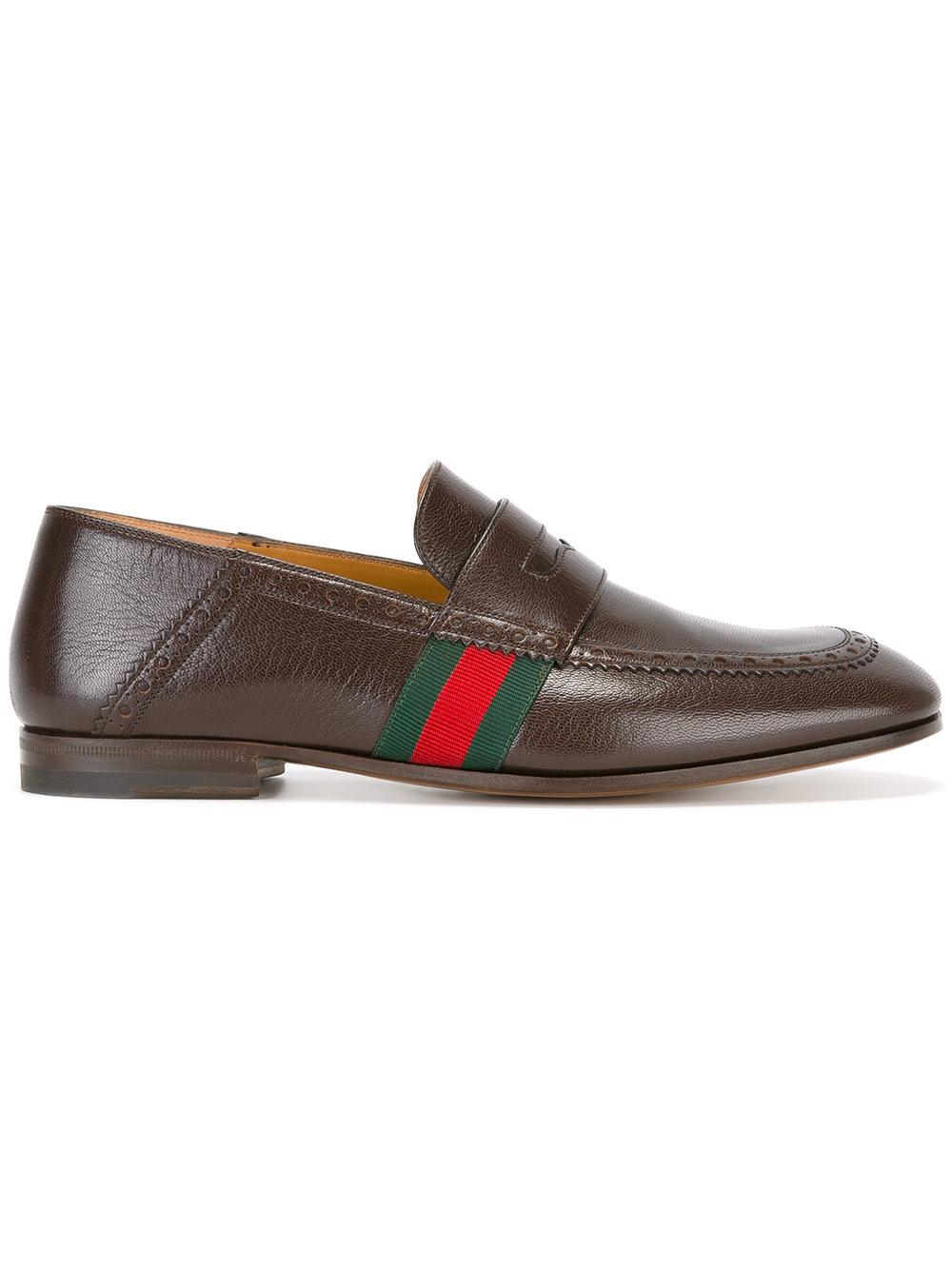 Gucci Web Trim Loafers in Brown for Men