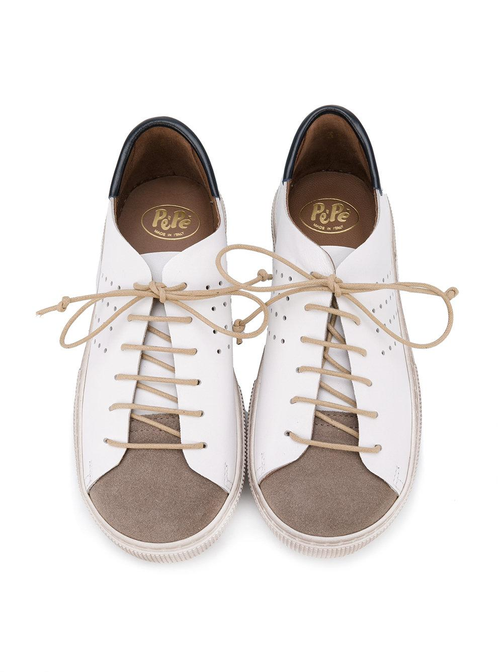 Pepe Jeans Leather Colour Panel Lace-up Sneakers in White