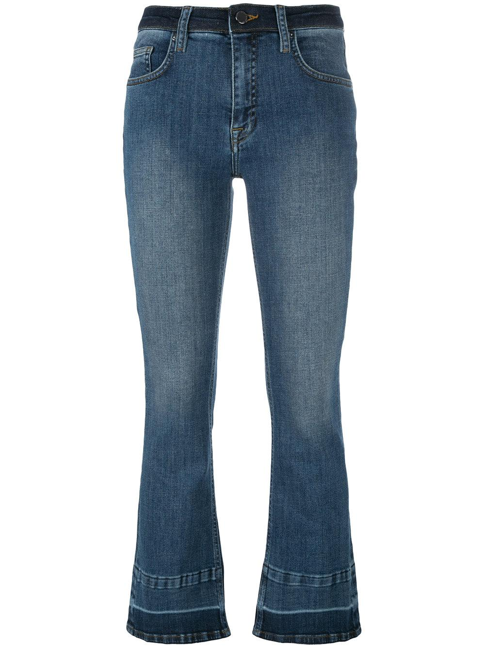victoria victoria beckham cropped flare jeans in blue lyst. Black Bedroom Furniture Sets. Home Design Ideas