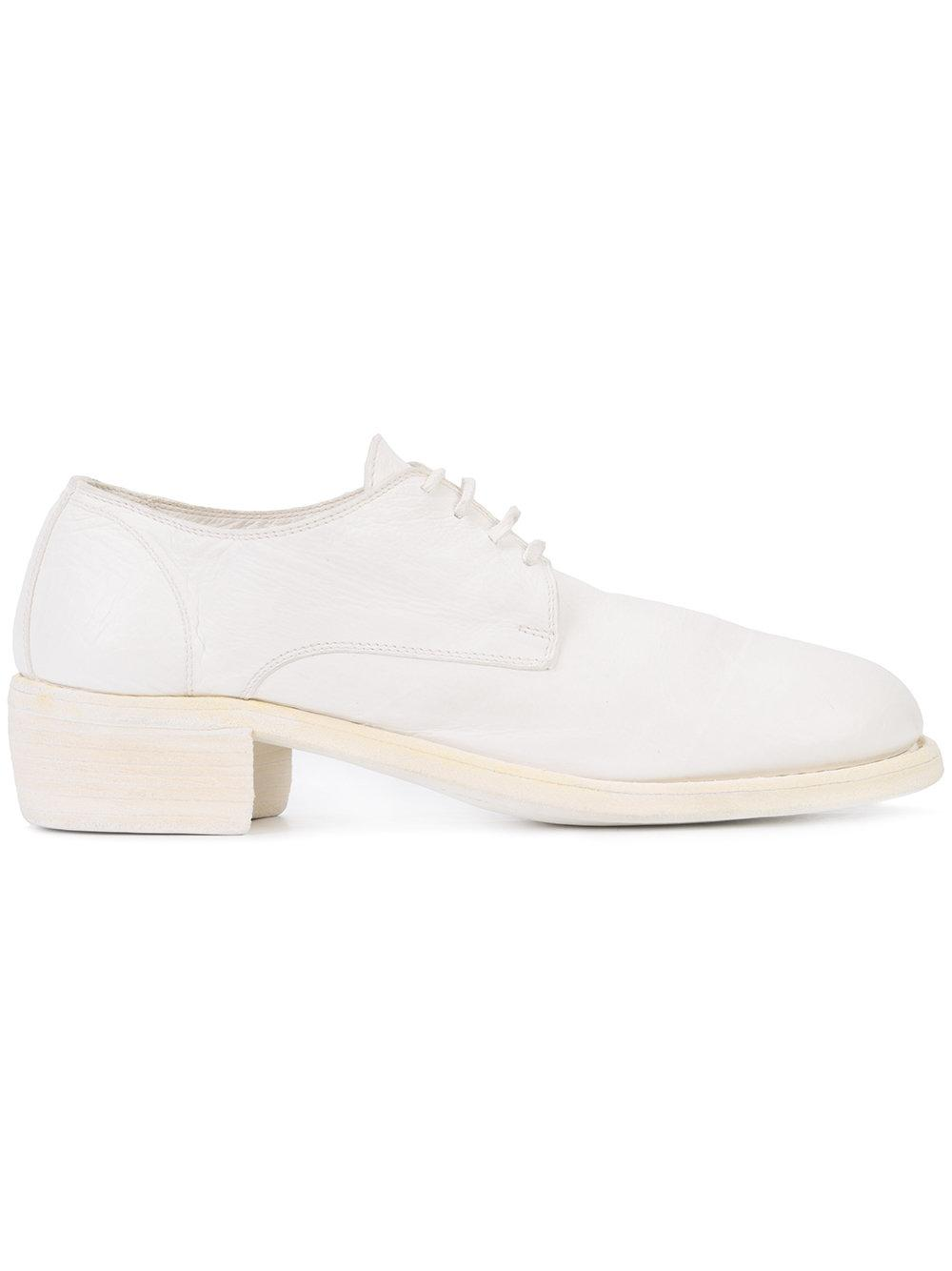 guidi chunky heel lace up shoes in white lyst