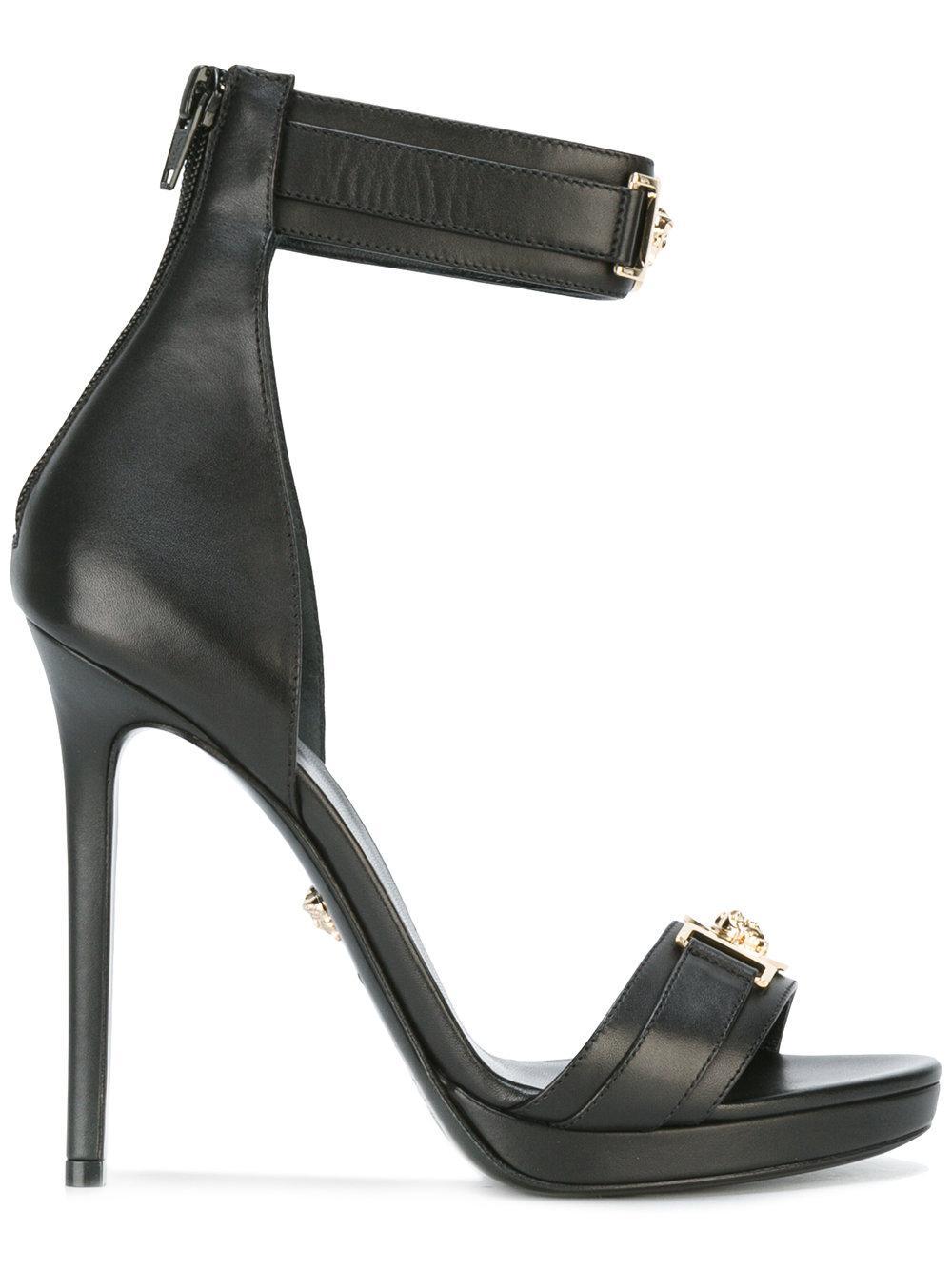Versace Medusa Plaque Heel Sandals In Black Lyst
