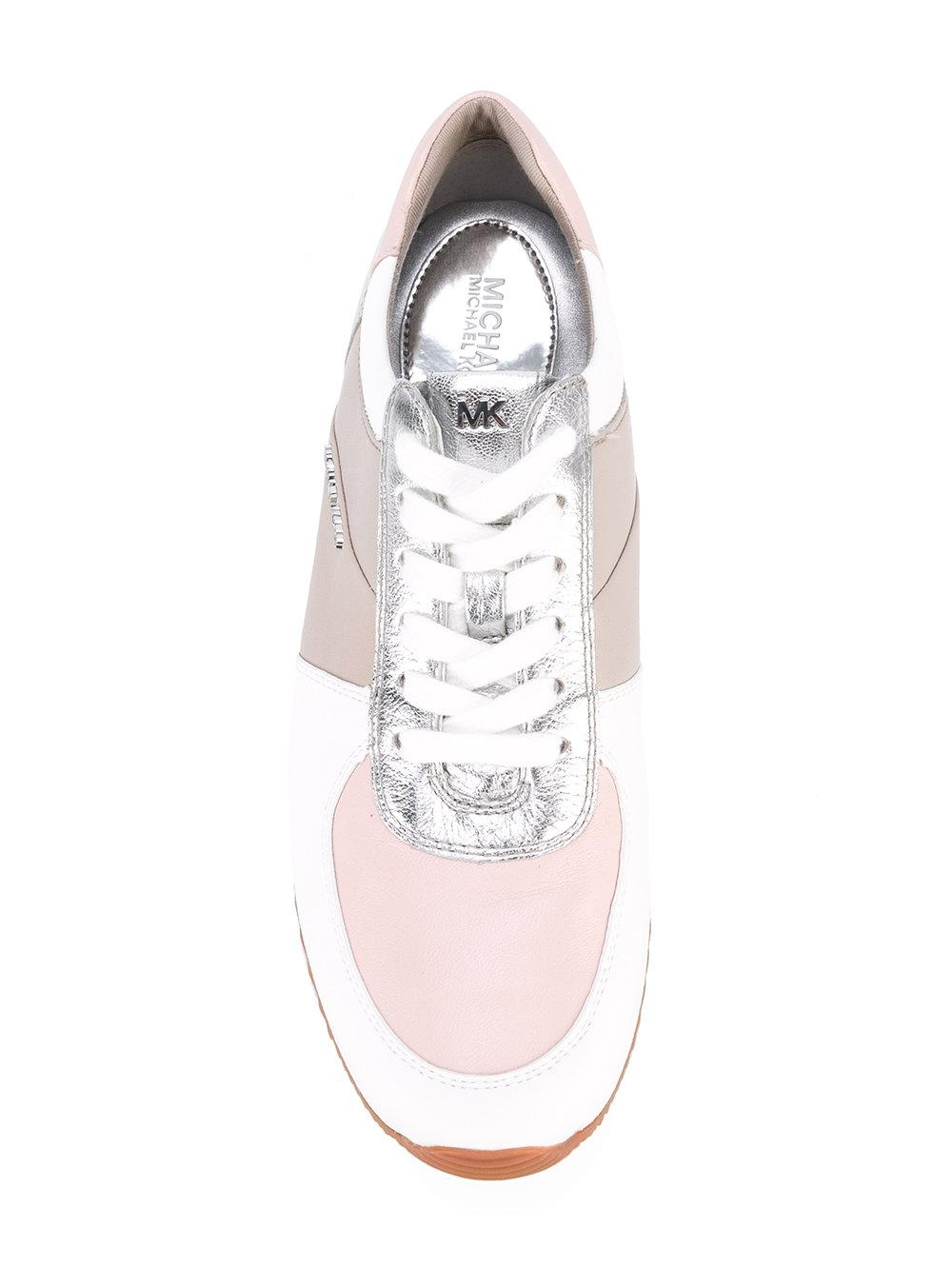 MICHAEL Michael Kors Leather Contrast Panel Sneakers in White