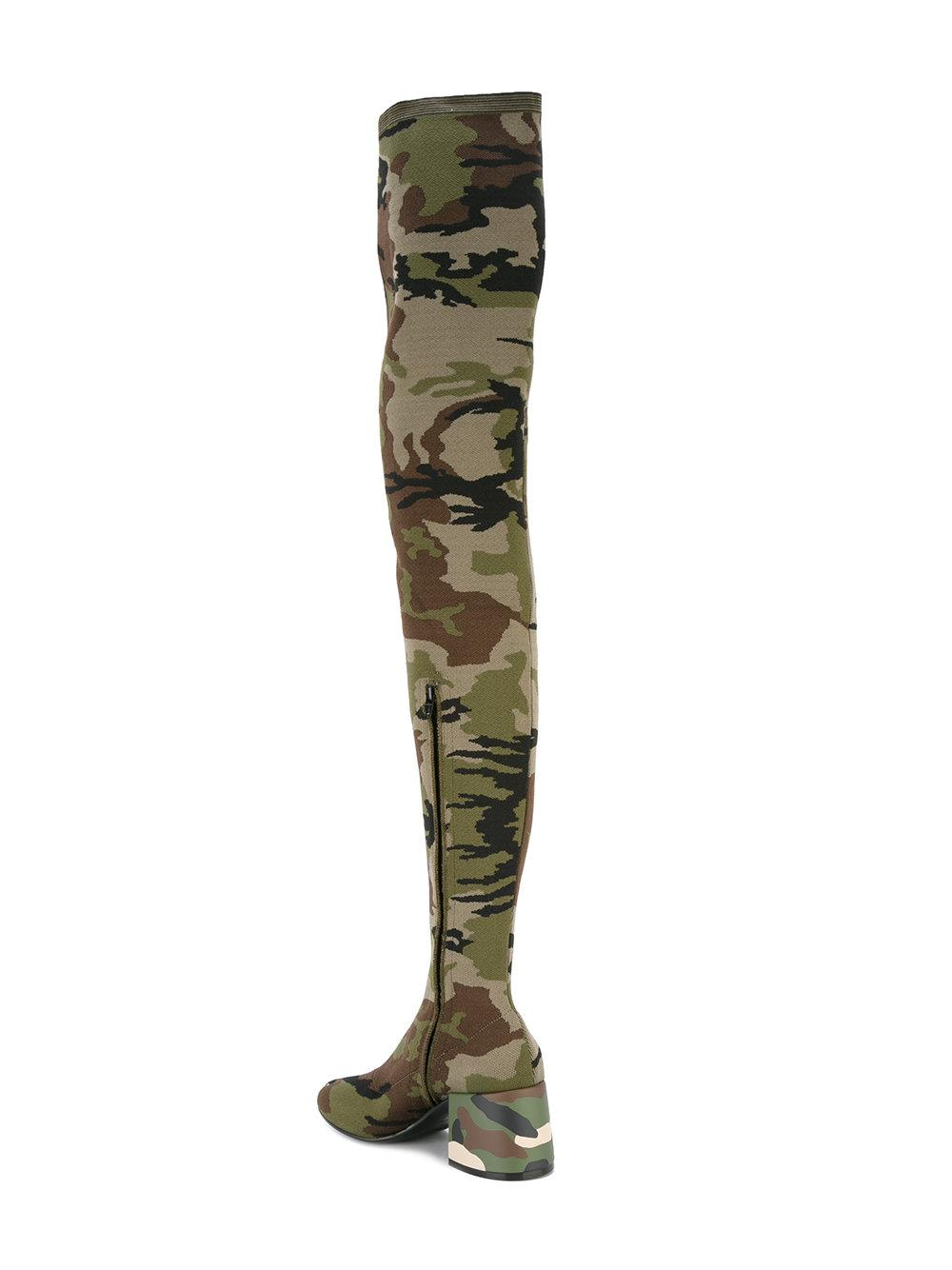 MM6 by Maison Martin Margiela Leather Camouflage Boots in Green