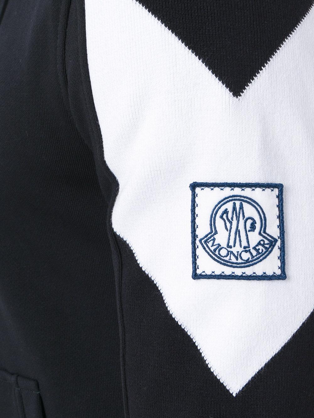 Moncler Gamme Bleu Cotton Logo Plaque Zipped Hoodie in Black for Men