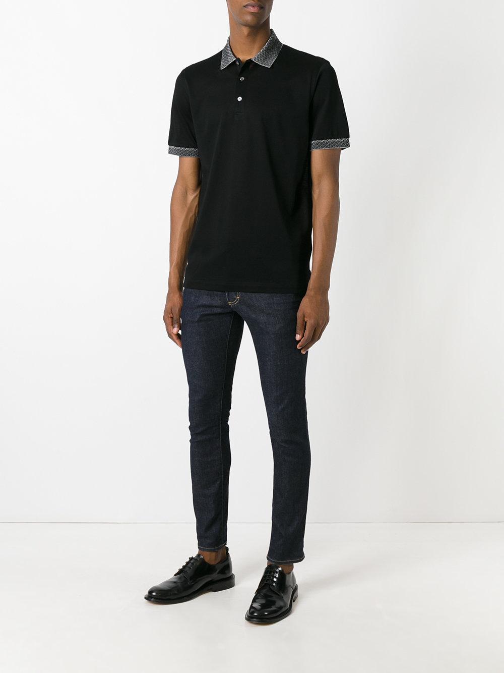 Brioni Cotton Collar Detail Polo Shirt in Black for Men