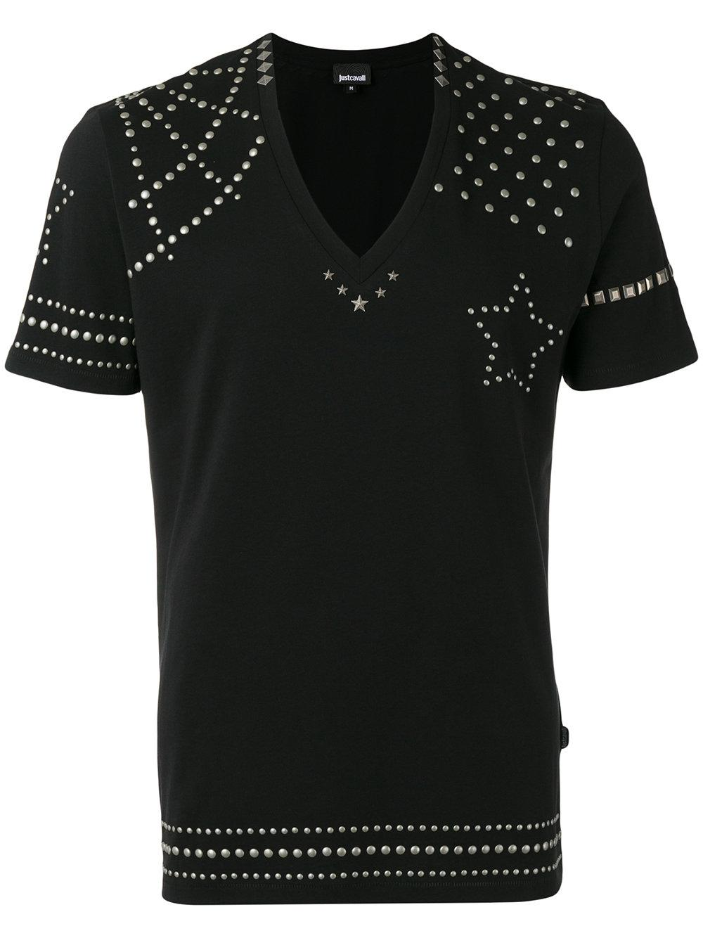 Just Cavalli Metallic Stud T Shirt In Black For Men Lyst