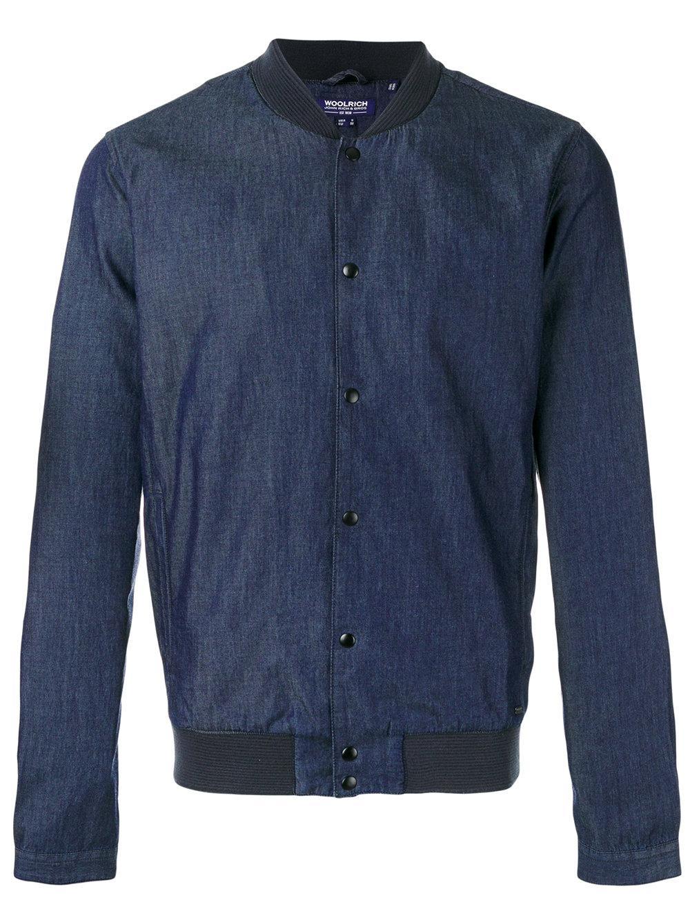 Lyst Woolrich Denim Bomber Jacket In Blue For Men
