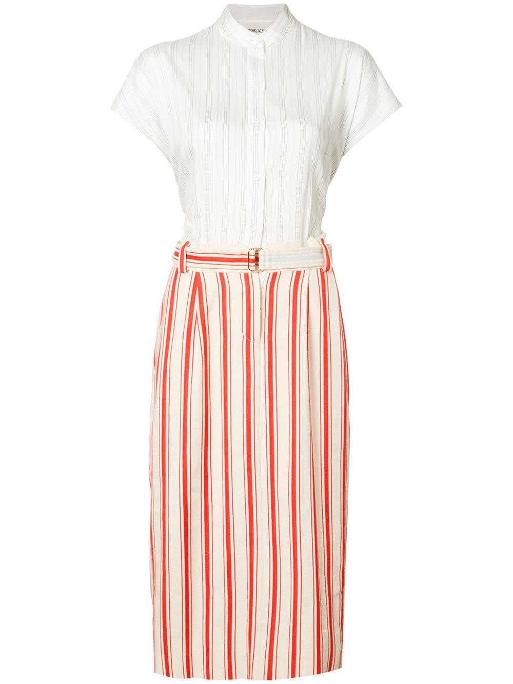 michel klein belted stripe midi skirt cotton
