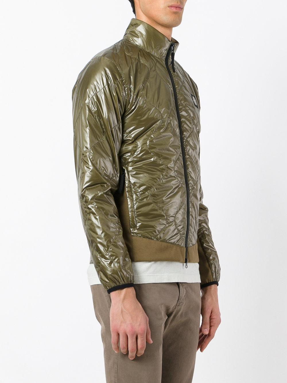 Stone Island Synthetic Metallic Quilted Jacket in Green for Men