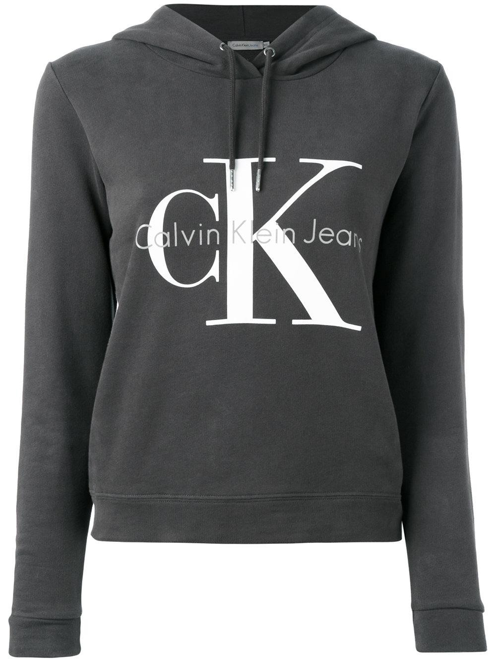 calvin klein jeans logo hooded sweatshirt in gray lyst. Black Bedroom Furniture Sets. Home Design Ideas
