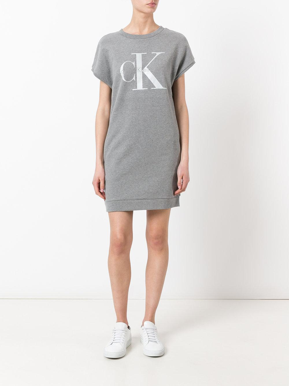 Calvin klein jeans logo print sweat dress in gray lyst for How to not sweat through dress shirts