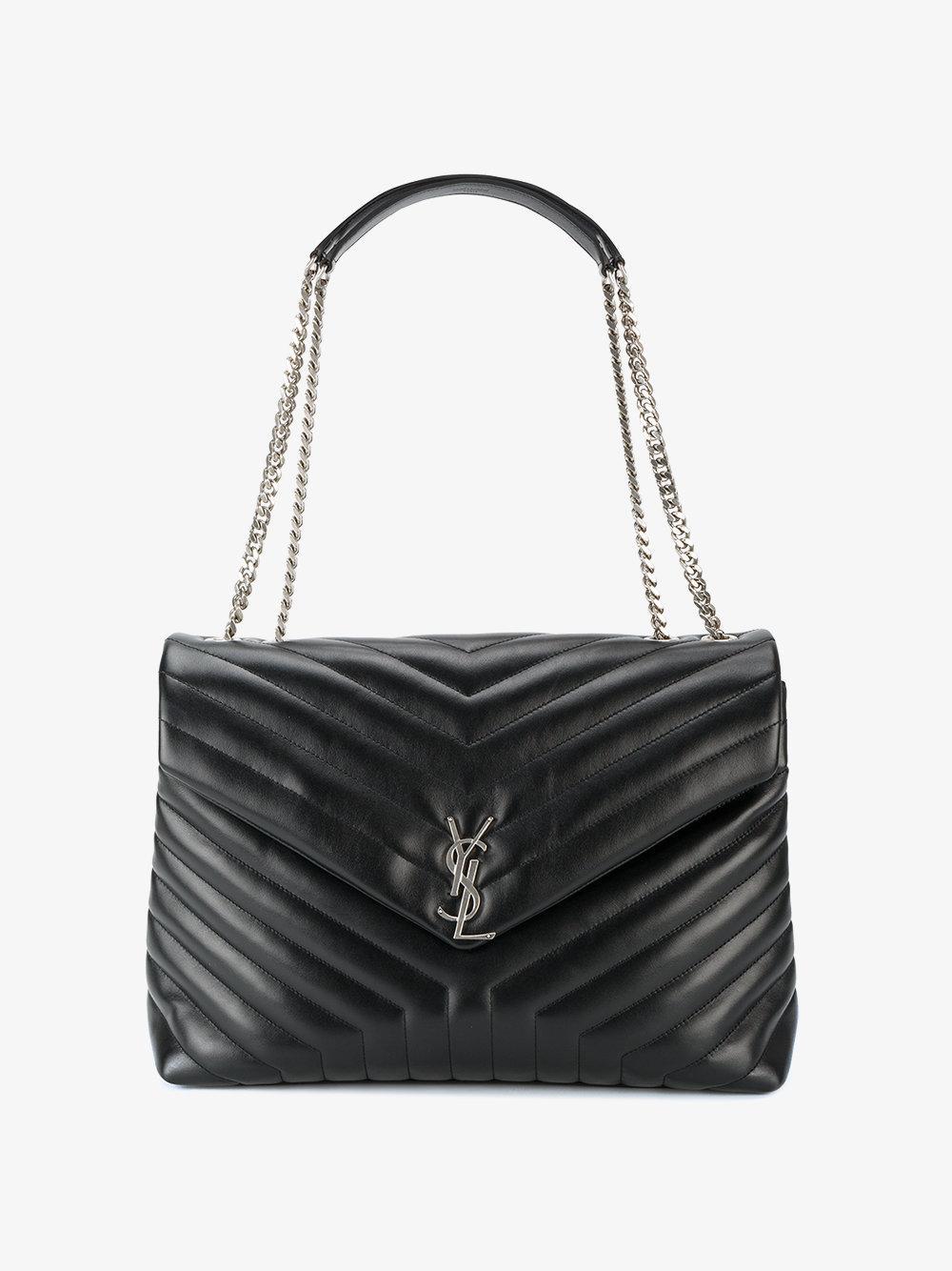 Saint laurent Large Monogram College Bag in Black  83b5f8ed2ab11