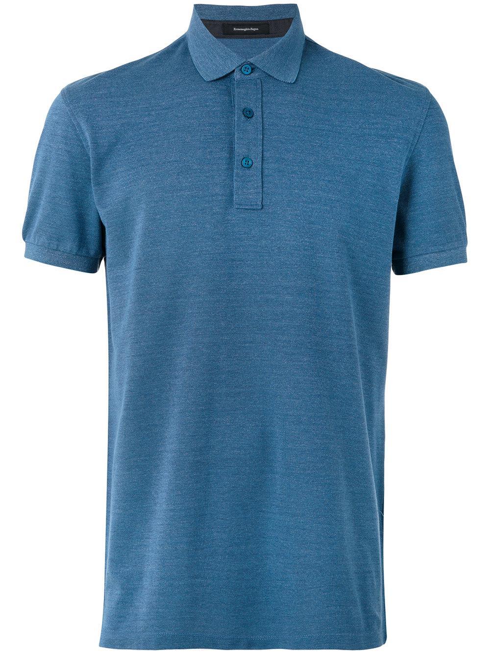 Ermenegildo zegna short sleeve polo shirt in blue for men for Zegna polo shirts sale