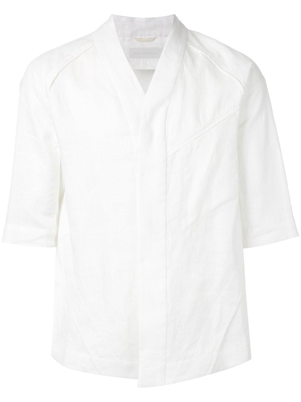 Abasi rosborough collarless shirt in white for men lyst for Collarless white shirt slim fit