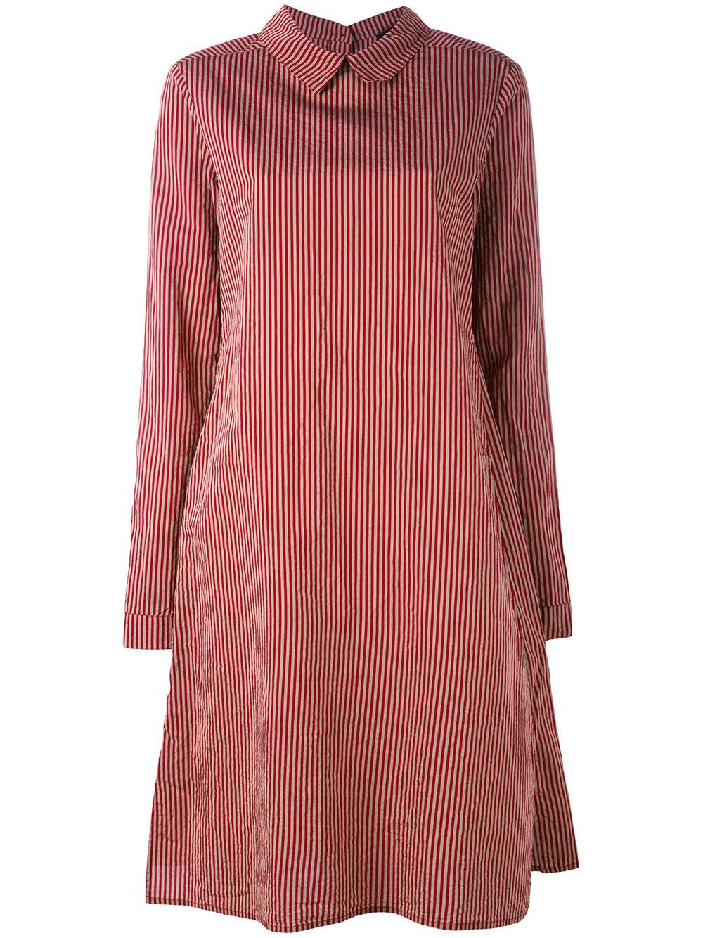 Rundholz striped shirt dress in red lyst for Mens red and white striped dress shirt