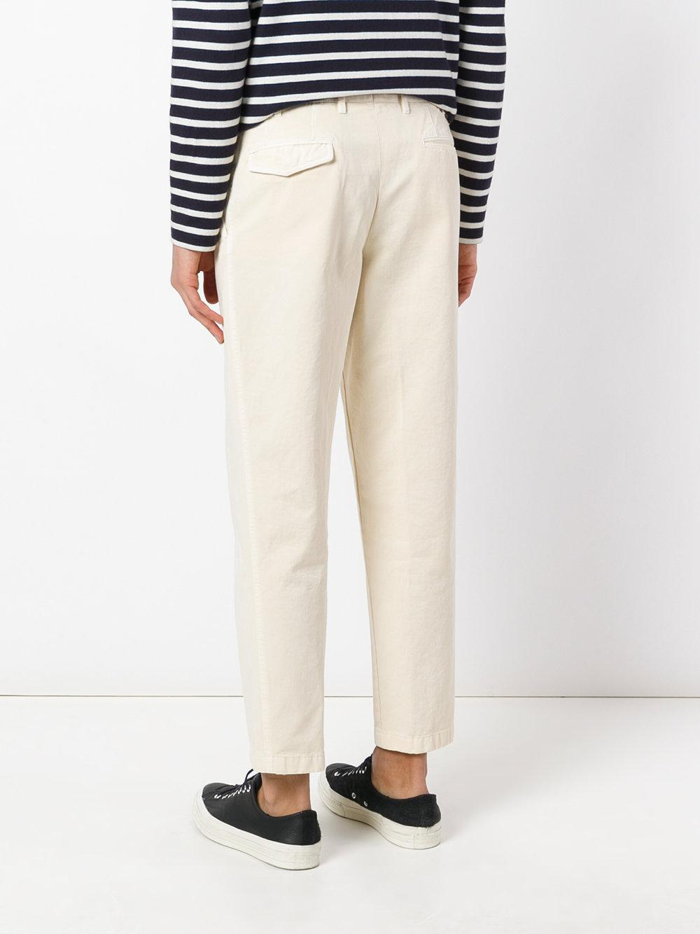 The Gigi Cotton Cropped Trousers in Natural for Men