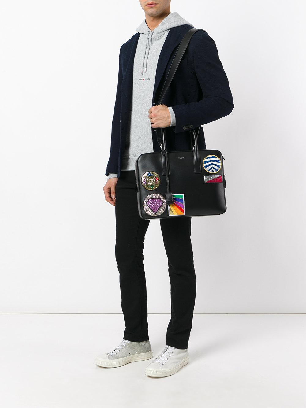 20940bf8dc Saint Laurent Black Classic Small Museum Multi-patch Flat Briefcase for men