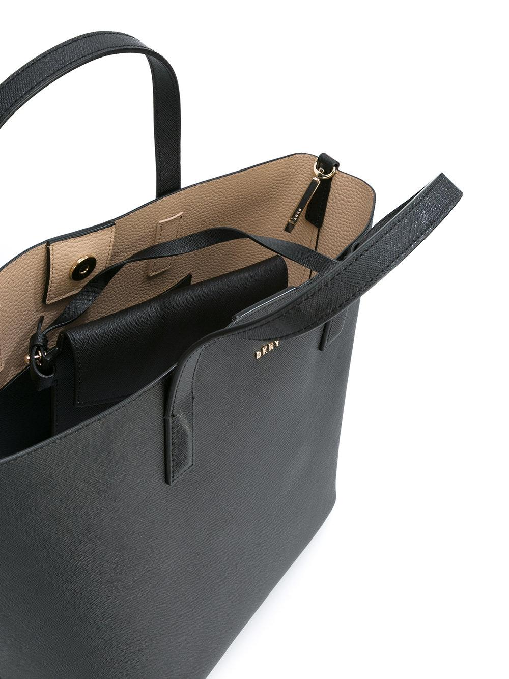 DKNY Leather Logo Plaque Tote Bag in Black