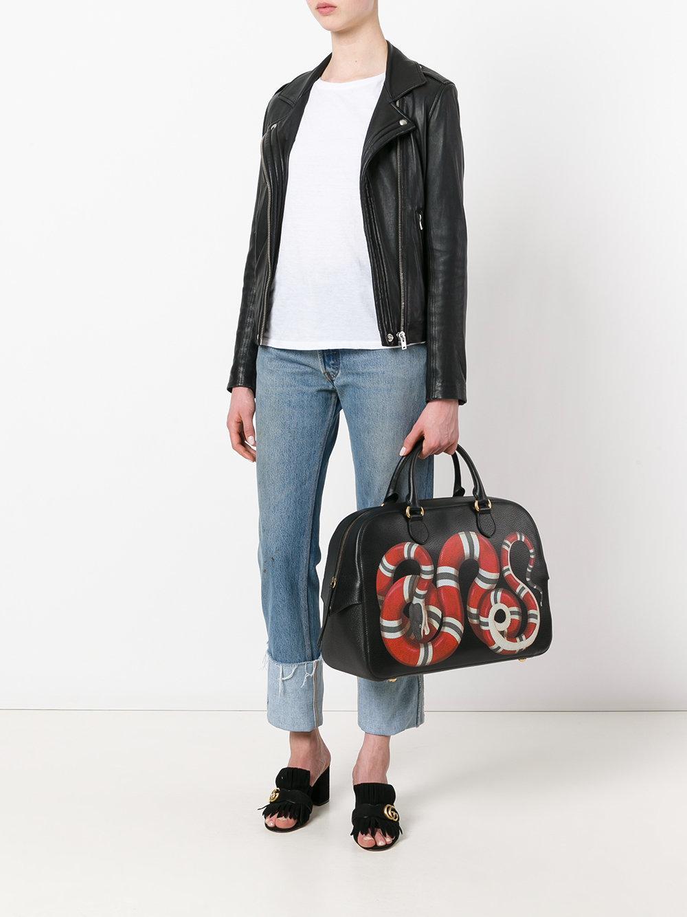 26eb1ee8e89d Gucci Kingsnake Print Tote Bag in Black - Lyst