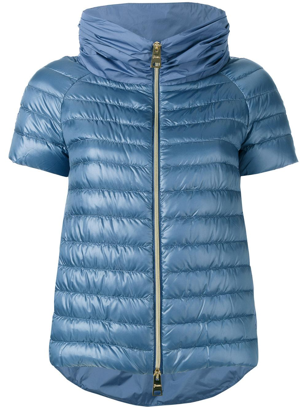 herno short sleeved puffer jacket in blue lyst. Black Bedroom Furniture Sets. Home Design Ideas