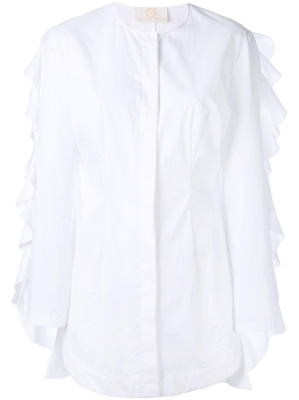 Sara Battaglia Pleated Collar Cotton Blend Poplin Shirt In