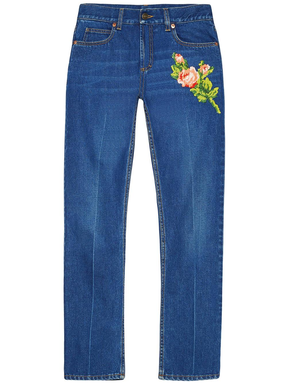 Gucci embroidered jeans in blue lyst