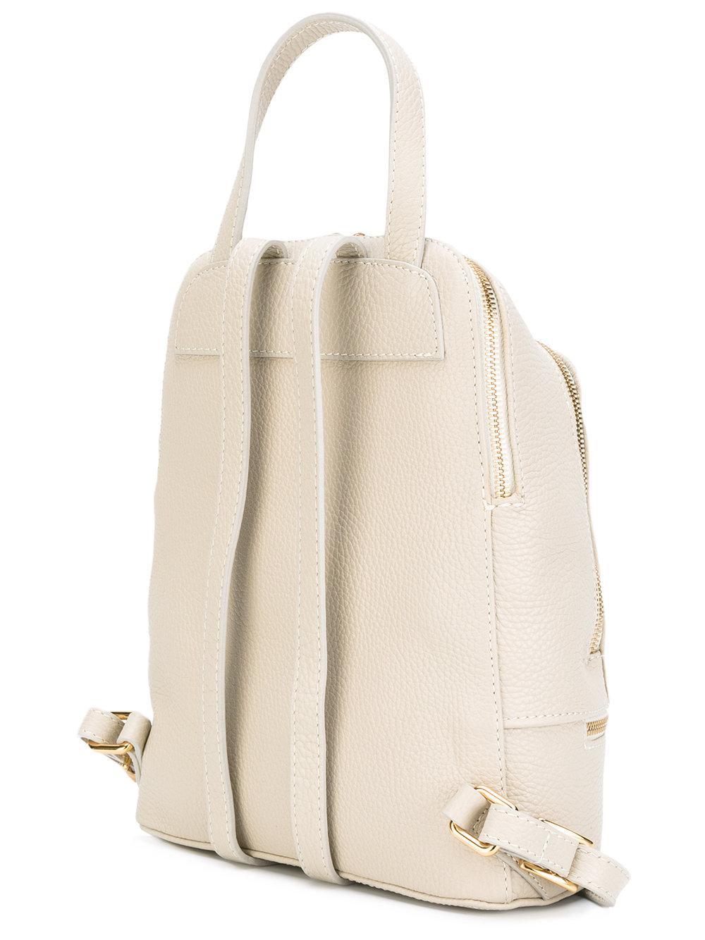 Baldinini Leather Zip-around Backpack in Natural
