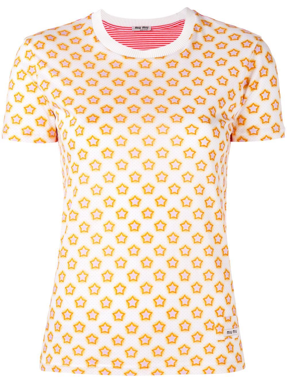 Miu miu star print t shirt women cotton xs lyst for Miu miu t shirt